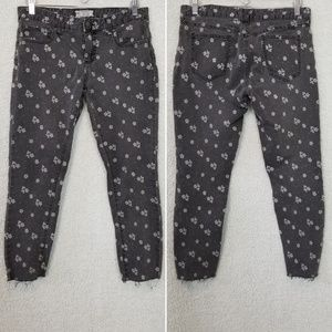 Free People Charcoal Floral Jeans Size 29